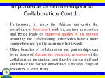 importance of partnerships and collaboration contd