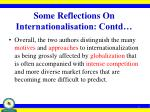 some reflections on internationalisation contd