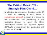 the critical role of the strategic plan contd