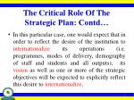 the critical role of the strategic plan contd1
