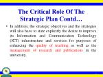 the critical role of the strategic plan contd2