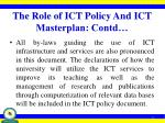 the role of ict policy and ict masterplan contd