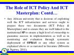 the role of ict policy and ict masterplan contd2