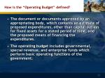 how is the operating budget defined