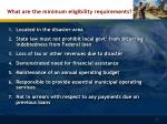 what are the minimum eligibility requirements