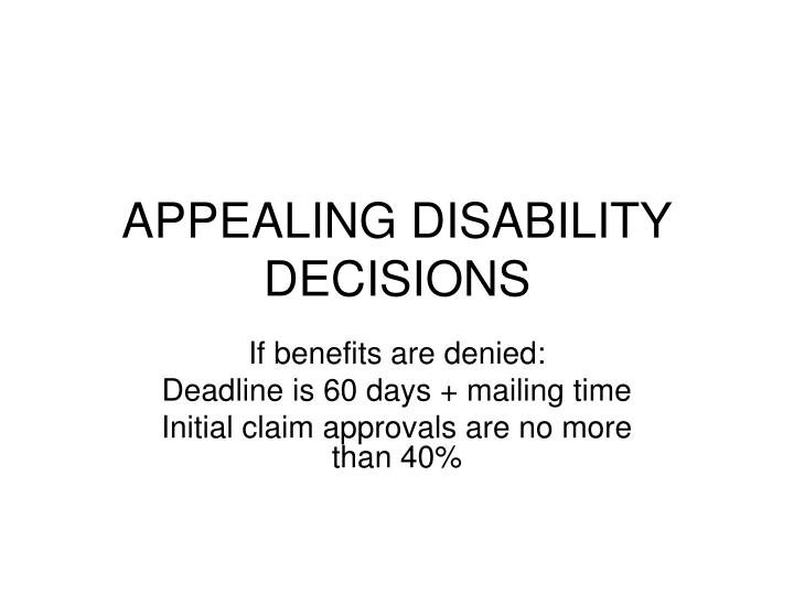appealing disability decisions n.