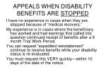 appeals when disability benefits are stopped