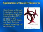 application of security measures