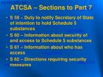 atcsa sections to part 7