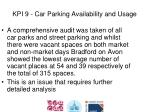 kpi 9 car parking availability and usage