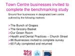 town centre businesses invited to complete the benchmarking study
