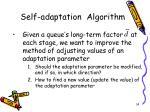 self adaptation algorithm