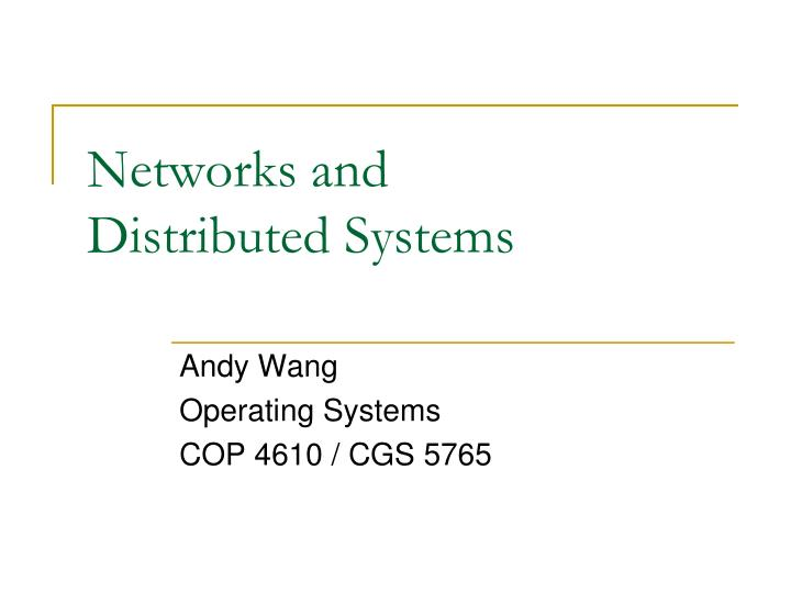 networks and distributed systems n.