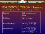 horizontal throw summary