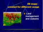 3d maps created for different usage2