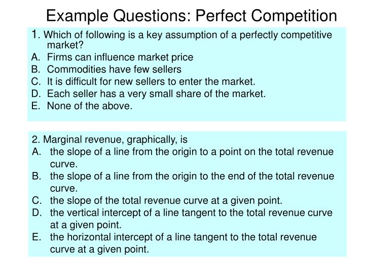 Example Questions: Perfect Competition