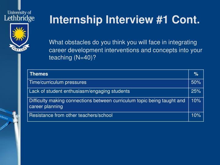 Internship Interview #1 Cont.