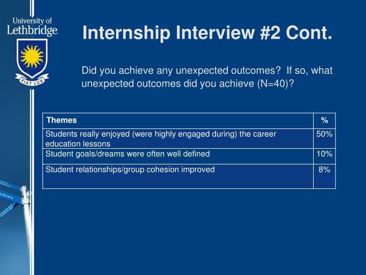 Internship Interview #2 Cont.