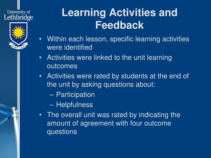 Learning Activities and Feedback