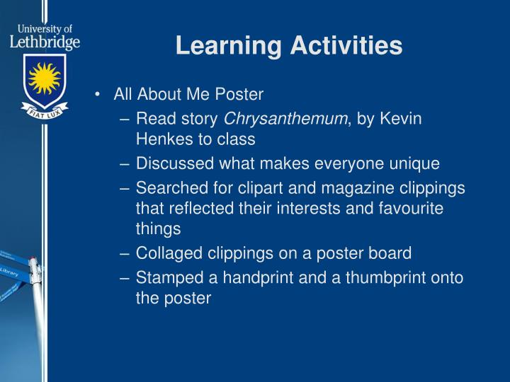 Learning Activities