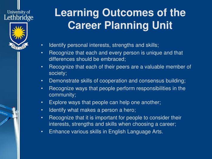 Learning Outcomes of the Career Planning Unit