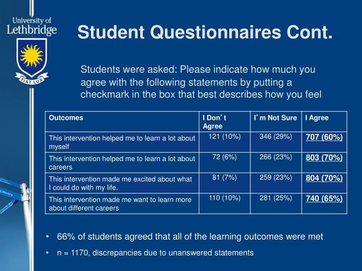 Student Questionnaires Cont.