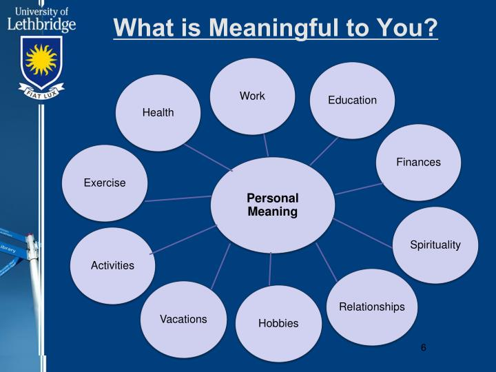What is Meaningful to You?