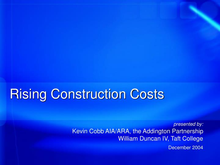 rising construction costs n.