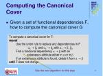 computing the canonical cover