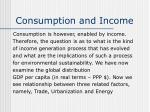 consumption and income