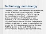 technology and energy