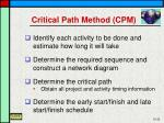 critical path method cpm