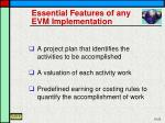 essential features of any evm implementation