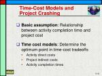 time cost models and project crashing