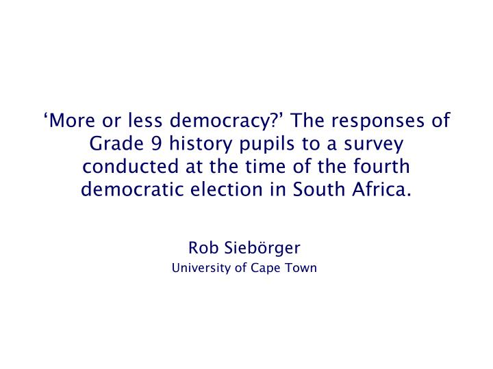 rob sieb rger university of cape town n.