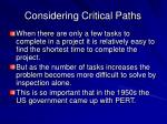 considering critical paths