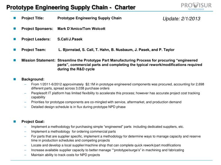 prototype engineering supply chain charter n.