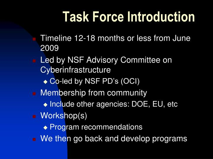 Task force introduction