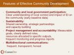 features of effective community development