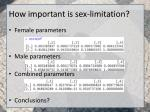 how important is sex limitation1
