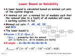 lower bound on reliability