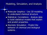 modeling simulation and analysis