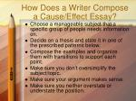 how does a writer compose a cause effect essay