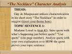 the necklace character analysis