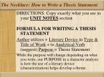 the necklace how to write a thesis statement
