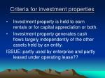 criteria for investment properties