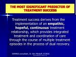 the most significant predictor of treatment success