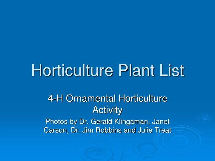 horticulture plant list n.