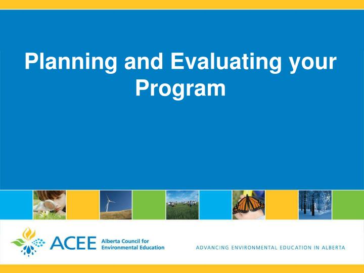planning and evaluating your program n.