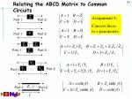 relating the abcd matrix to common circuits